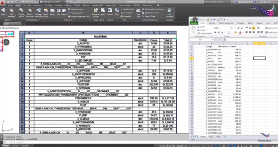 How to link excel based spreadsheet to an Autocad drawing